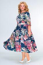 397 платье синяя акварель